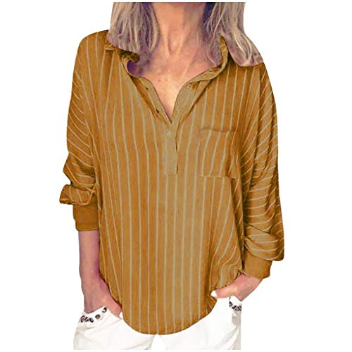 (QueenMMWomen's Henley V Neck Stripes Long Sleeve Blouses Tops with Button Pocket Lightweight Shirt Yellow )