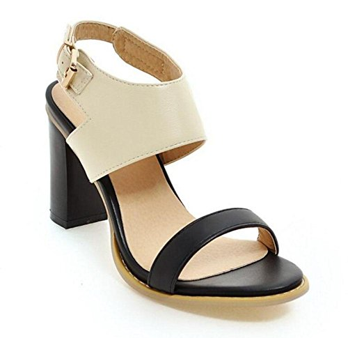 High Shaped Pump Toed With Shoes Lady Heels Open Court Buckle Women'S GLTER Sandals Beige n15qwYzY
