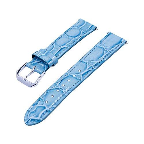 Gorgeous 18mm), color azul bordada Croco grano piel auténtica de banda de alta calidad