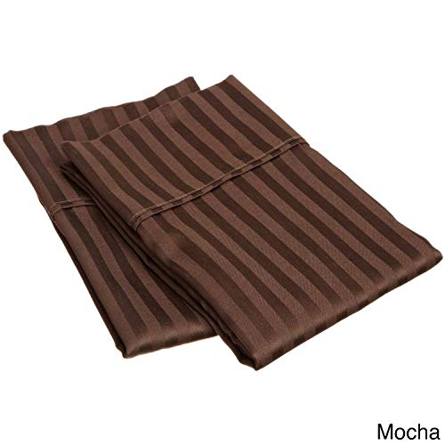 SGI bedding 600 Thread Count 100% Egyptian Cotton King Size Pillowcase 20X40 Chocolate Stripe Solid (Pack of 2)