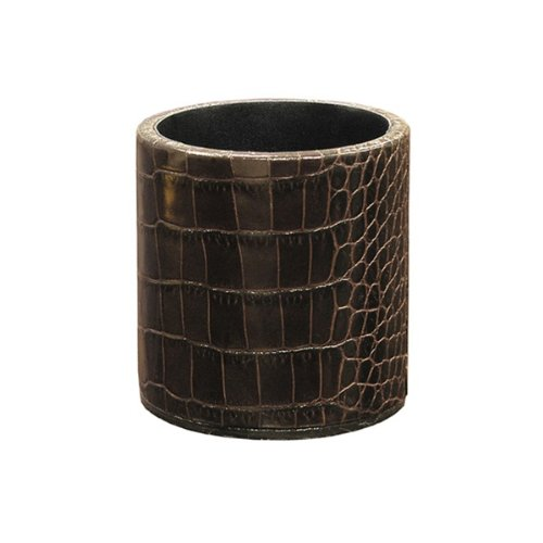 Crocodile Pencil Cup - Graphic Image Crocodile Embossed Leather Pen/Pencil Cup, Brown