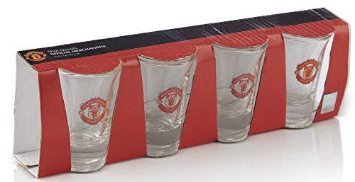 Manchester United FC Shot Glasses - Set of 4 Shot Glasses - Official Man Utd Product - Great For Any United Fan - Features Team Colors and Crest - Manchester United FC Four Shot Glasses - MUFC Soccer