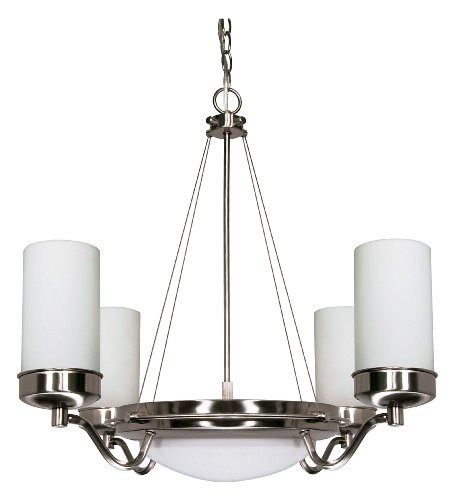 Nuvo Lighting 60 490 Polaris 6 Light Chandelier With White Opal Glass Shade  Brushed Nickel