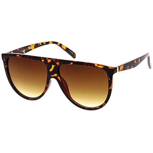 sunglassLA - Modern Oversize Flat Top Aviator Sunglasses With Neutral Color Flat Lens 59mm (Tortoise / - Retrosuperfuture Flat Sunglasses Top