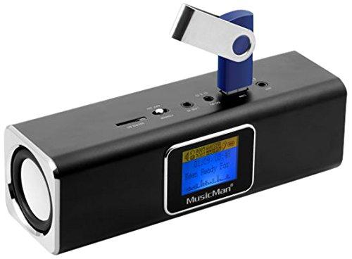 Musicman MA Soundstation Stereo-Lautsprecher mit intergriertem Akku und LCD Display (MP3 Player, Radio, MicroSD Kartenslot,USB Steckplatz) schwarz