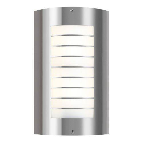 Newport Lighting (Kichler 6048PSS316 Newport 2LT 15IN Exterior Wall Mount, Polished Stainless Steel Finish with White Acrylic Diffuser)