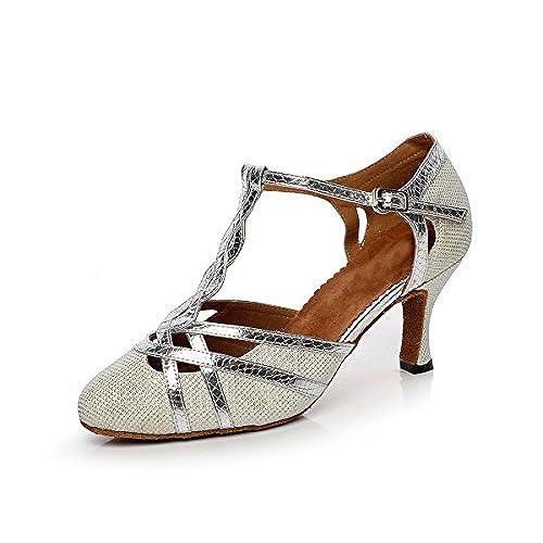 d4edcd0df46 Minishion QJ6231 Women s Color Block Satin Latin Salsa Dance Shoes hot sale  2017