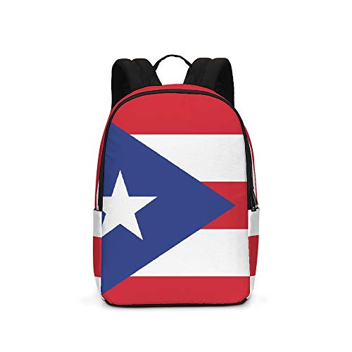 Puerto Rico Flag Girls Backpack Bookbag 17 Inch Plus Laptop Travel School Shoulder Daypack Lightweight Bag Purse for Teens Boys Women