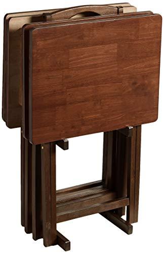PJ Wood 5-piece Folding TV Tray & Snack Table - Walnut