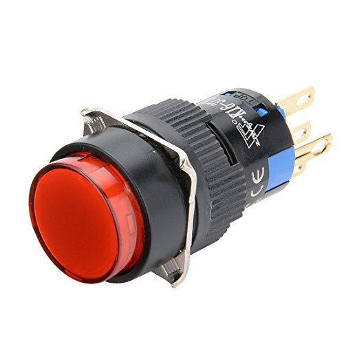 24v Led 16 Mm (uxcell Latching Push Button Switch 16mm Mounting Dia SPDT 1NO 1NC 3 Terminals Round Head with 24V Red LED Light)