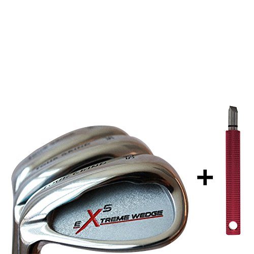 Left Handed Extreme X5 Petite Senior Ladies Wedge Set: 52° Gap Wedge (GW), 56° Sand (SW), 60° Lob (LW) Ladies Flex (Petite - 5' to 5'3) Tacki-Mac Arthritic Golf Grip. + Free Groove Sharpener (Red) by Extreme X5