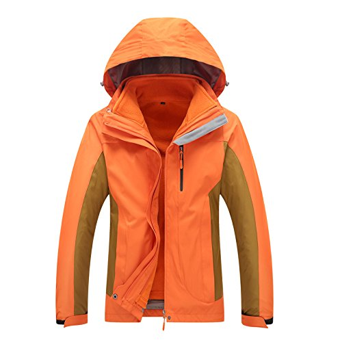 Coat Long Sleeves Jacket Orange W L Color Men Solid Windproof Hat Women DYF Zipper g0qEw8ZX