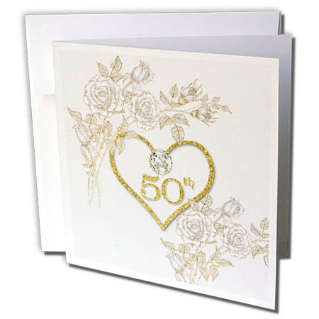 3dRose Doreen Erhardt Wedding Collection - 50th Golden Wedding Anniversary in Faux Gold Glitter Heart on White - 12 Greeting Cards with envelopes (gc_264590_2)