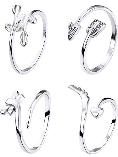 Chuangdi 4 Pieces Open Rings Set Finger Joint Rings Toe Ring Beach Jewelry Gifts for Women -