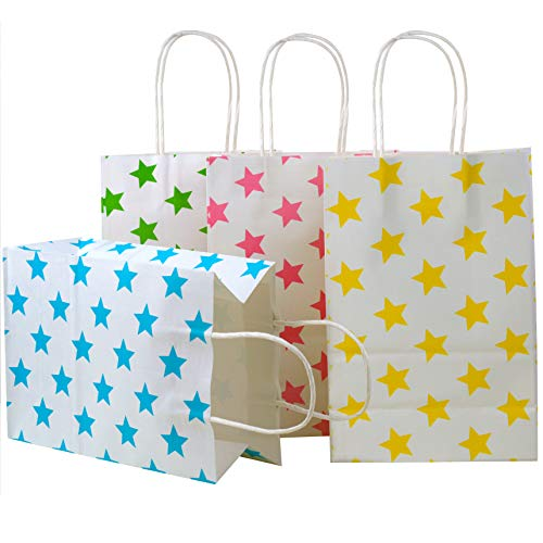 24 Pieces Kraft Paper Party Favor Bags with handle Assorted Colors (Star)