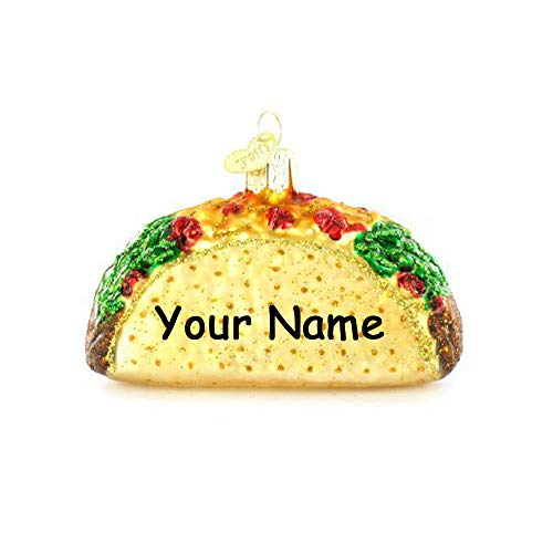 Personalized Hard Shell Taco Hanging Christmas Ornament Glittered Design with Custom Name (Frostys Favorite Ornament)