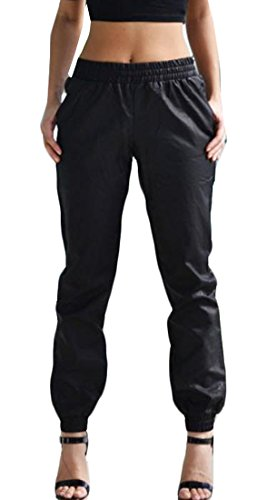 Cromoncent Womens Casual Harem Faux Leather Jogger Pant with Pocket Black S