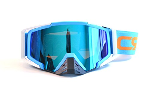 (CRG Motocross ATV Dirt Bike Off Road Racing Goggles Adult T815-105 Series (Blue and White))