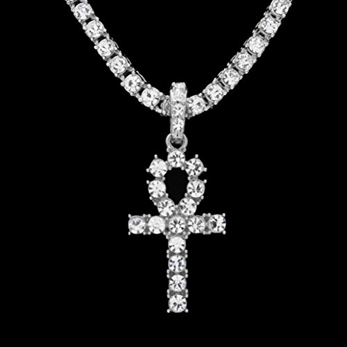 Fashionable Necklaces,RTYou Hip Hop Men Women Jewelry Bling Rhinestone Crystal Key Cross Pendant Necklace (E)