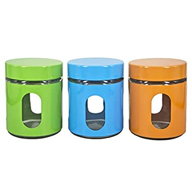 Glass Kitchen Storage Jars - Set of 3 Food Storage Containers With Lids in Designer Colors - 3.75 W x 4.8  H - 17 Oz. - Premium Quality