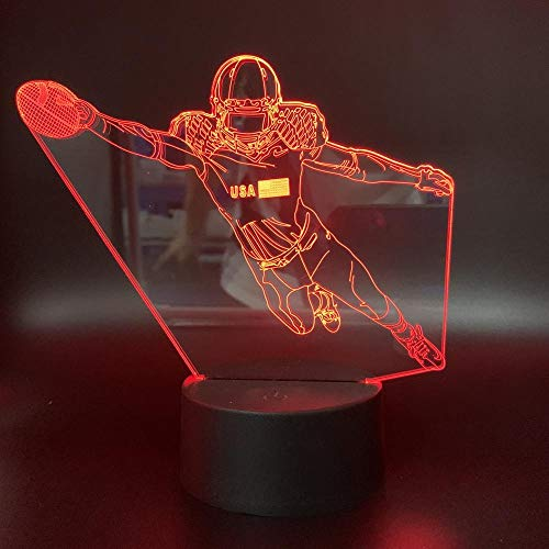 Xiujie 3D Night Light Playing Rugby 7 Color Illusion Lamp Children's USB Touch 3D Table Lamp Halloween Christmas Children's Gift Bedroom Bedside Lamp