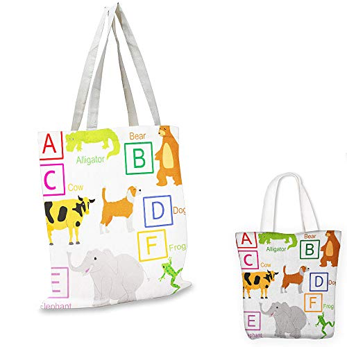 easy shopping bag Educational Alphabet Letters with Cute Zoo Animals Kids Fun Preschool Teaching Collection Multicolor tote bag with pockets ()