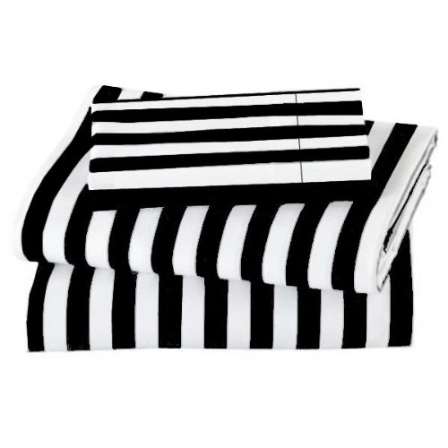600TC WRINKLE RESISTANT TWIN EXTRA LONG BLACK WITH WHITE STRIPE SHEET SET BY MARRIKAS
