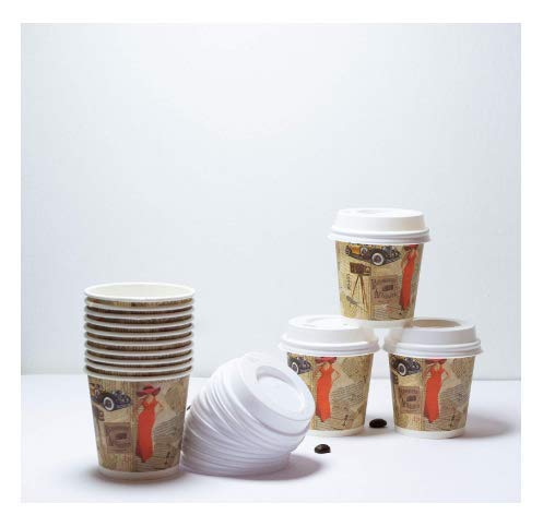 Espresso Cups and Lids. Pack of 50 Recyclable 4 oz Disposable Paper Coffee Cups To Go with Unique Retro Design. Perfect Fitting No-Leak Lids. Choose from 3 Options. Perfect Set. Kosher by SGdirect