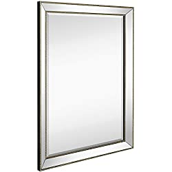 "Large Framed Wall Mirror with Angled Beveled Mirror Frame and Beaded Accents | Premium Silver Backed Glass Panel | Vanity, Bedroom, or Bathroom | Mirrored Rectangle Horizontal or Vertical (30""x40"")"