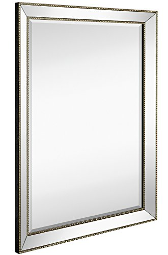 Large Framed Wall Mirror with Angled Beveled Mirror Frame and Beaded Accents - Mirrors Bathroom Beveled Glass