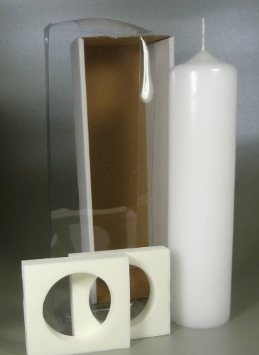 Taufkerze inkl. Klarsicht-Karton 25 x 6 cm (Stumpen weiss 25x6) -4710- Kerze zur Taufe zum Basteln und selbst gestalten