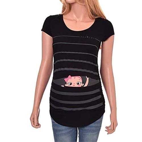 Premamá Invierno Leggins Abrigos Camiseta De Manga Corta A Rayas con Estampado De Bebé Divertido Y Lindo De Maternidad Tops Embarazadas: Amazon.es: Ropa y ...