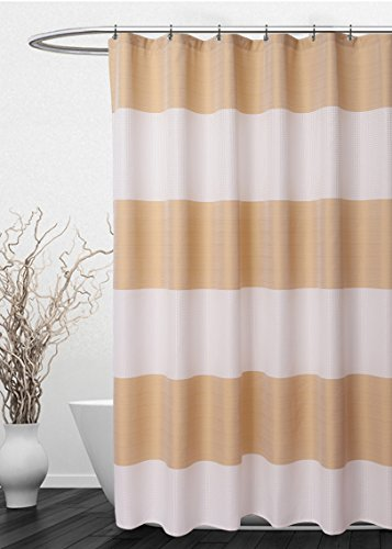 Striped Shower Curtain Waffle Weave – Hotel Luxury, Spa, Heavy Duty Fabric, Water Repellent Washable - White Gold Stripe, 72 x 72 inches Bath Curtains