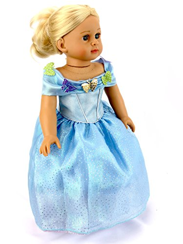 18 Inch Doll Clothes | Cinderella Inspired Sparkle Butterfly Ball Gown | Fits 18