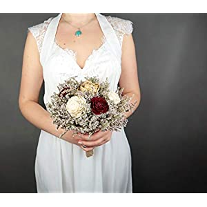 Small Rustic Wedding Bridesmaids Bouquets Made of Ivory and Gold Sola Flowers Burgundy Cedar Roses Dried Limonium Burlap Lace and Pearl Pins 3