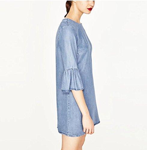 123 Courte Encolure Ronde Robe De Femmes Sygoodbuy Robe Élégante Jeans Occasionnels Manches Courtes Demi-journée Manches Bleu