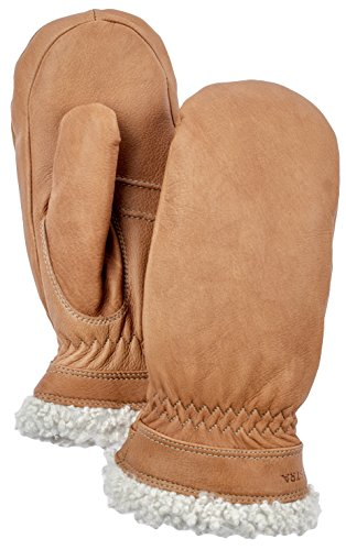 Hestra Leather Gloves for Women: Sheepskin Winter Cold Weather Mitten with Fur Cuff, Cork, 8