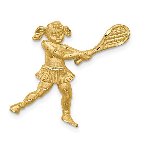 Brushed 14k Yellow Gold Female Tennis Player Swinging Racquet -