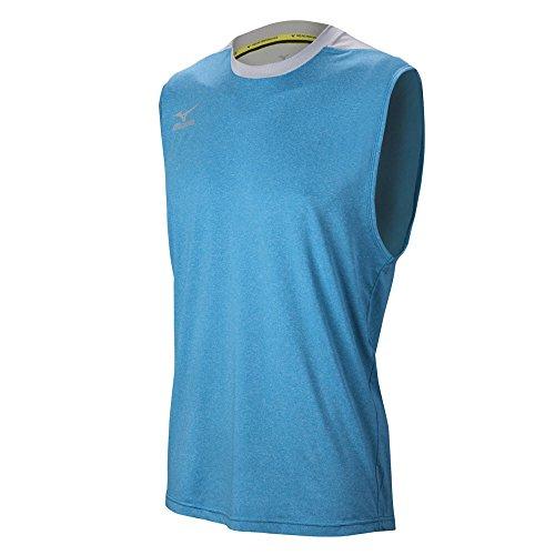Mizuno Men's Cutoff Volleyball Jersey, Heathered Dude Blue/Silver, Large