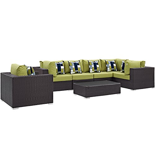 7 Piece Convene Outdoor Patio Sectional Set, Espresso Peridot - Modway EEI-2350-EXP-PER-SET
