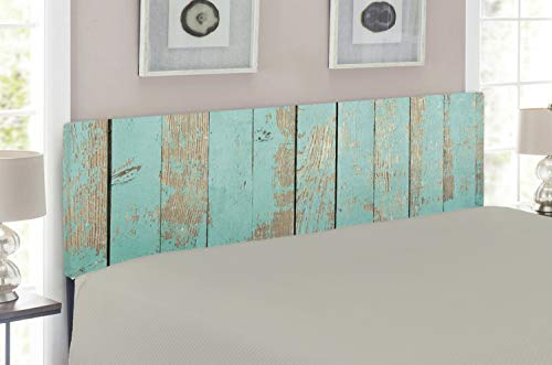 Lunarable Aqua Headboard, Worn Out Wooden Planks Faded Paint Marks Vintage Grunge Hardwood Image Rustic Design, Upholstered Decorative Metal Headboard with Memory Foam, for King Size Bed, Aqua ()