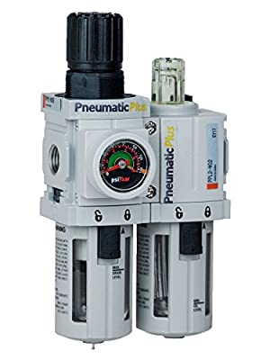 "PneumaticPlus PPC2A-N02G Mini Compressed Air Filter Regulator Piggyback Lubricator Unit 1/4"" NPT - Poly Bowl, Manual Drain, Embedded Gauge"