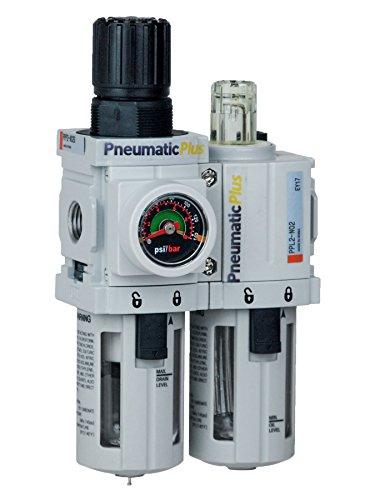 PneumaticPlus PPC2A-N02G Mini Compressed Air Filter Regulator Piggyback Lubricator Unit 1/4