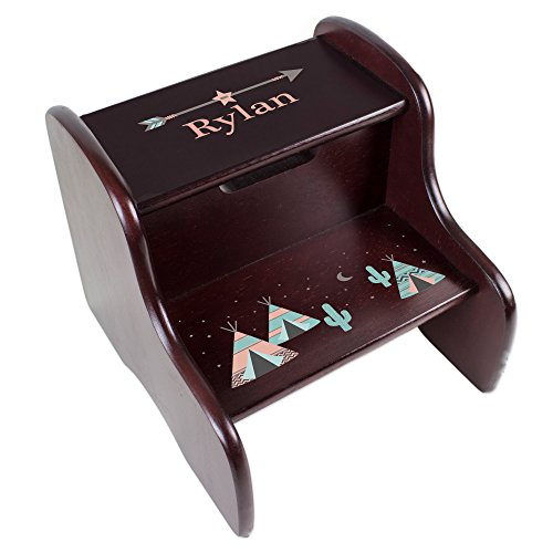 MyBambino Personalized Espresso Two Step Stool with Coral TeePee Design by MyBambino