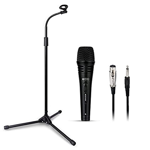 TONOR Pro Dynamic Vocal Microphone with Adjustable Collapsible Tripod Boom Stand Mic Clip, Suitable for Stage Singing Karaoke with Voice Box Laptop PC (Long Stand)