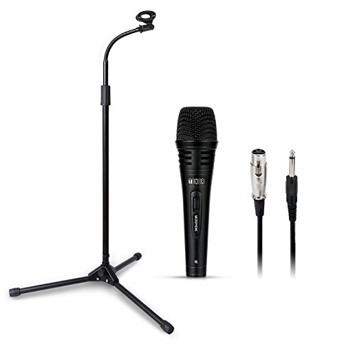 TONOR Pro Dynamic Vocal Microphone with Adjustable Collapsible Tripod Boom Stand Mic Clip, Suitable for Stage Singing Karaoke Podcasting with Voice Box Laptop PC (Long Stand) Concert Dynamic Vocal Microphone