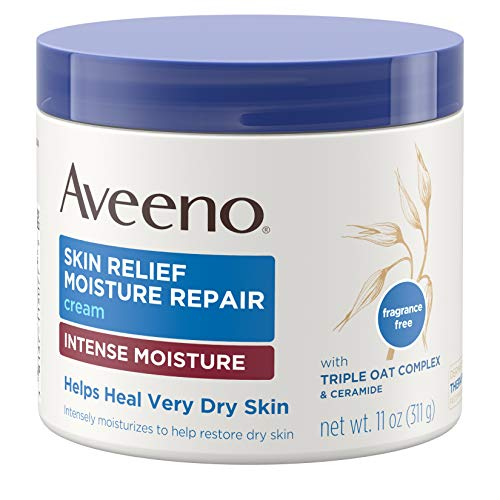 Aveeno Skin Relief Intense Moisture Repair Cream with Triple Oat Complex, Ceramide & Rich Emollients, Steroid- & Fragrance-Free Moisturizing Body Cream for Extra-Dry Skin, 11 - Repair Natural Skin