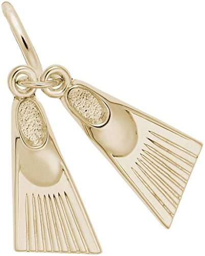 Rembrandt Swim Fins Charm - Metal - 14K Yellow Gold by Rembrandt Charms