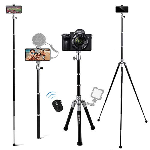 Camera Tripod, COMAN 3 in 1 Selfie Stick Tripod Stand and Monopod for Camera with Bluetooth Remote 56 inch