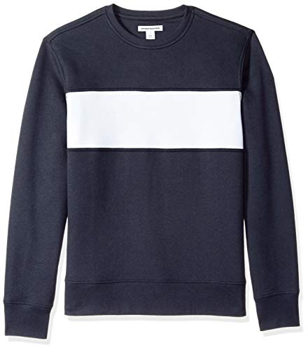 - Amazon Essentials Men's Crewneck Fleece Chest Stripe Sweatshirt, Navy/White Stripe, Medium
